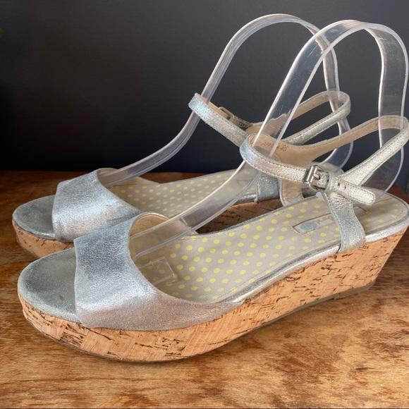 Metallic Silver Boden Platform Cork Sandal Wedges